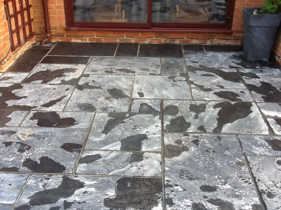 image of cleaning slate on a patio