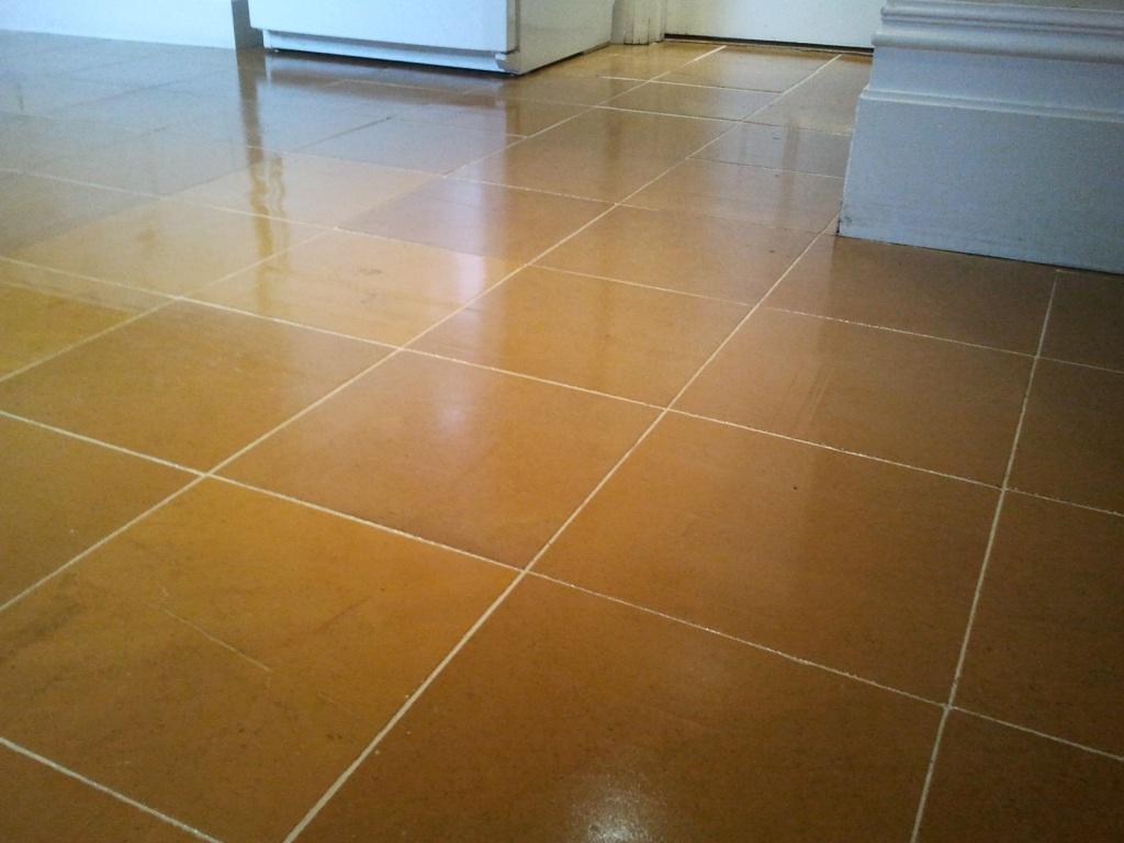 Indian Orange Slate Floor After Cleaning