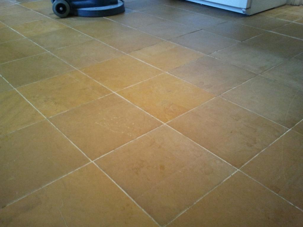 Indian Orange Slate Floor Before Cleaning