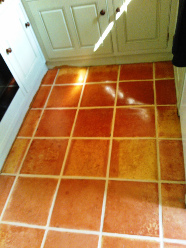 Saltillo Tiled Floor after cleaning