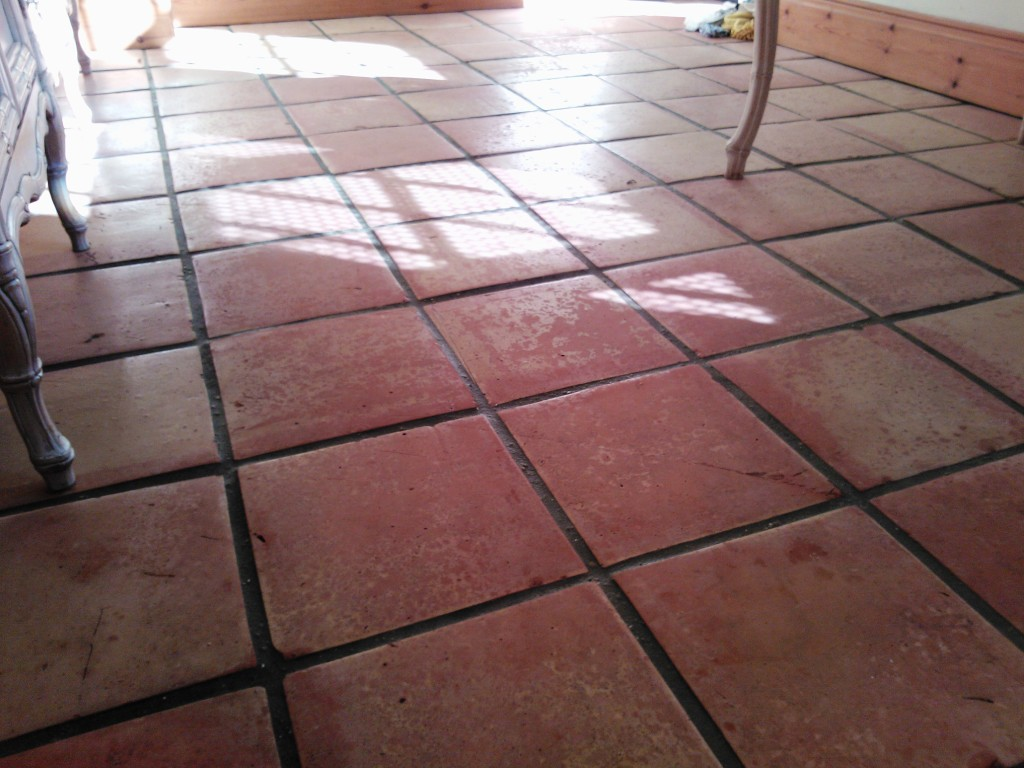 Saltillo Tiled Floor before cleaning