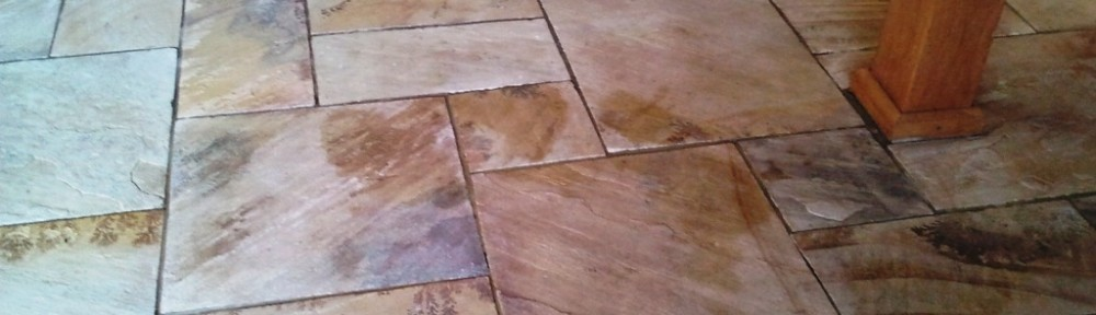 Beautiful Indian Sandstone floor deep cleaned in Guilford