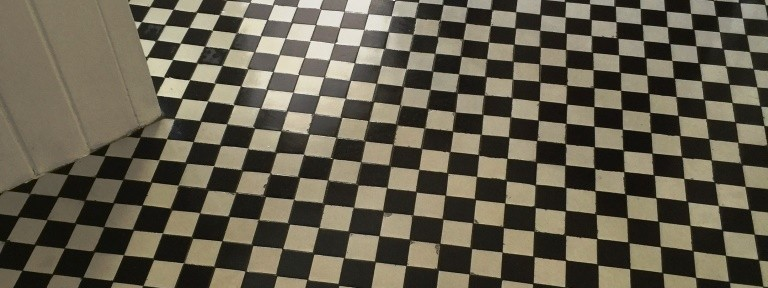 Repairing and Cleaning a Checkered Victorian Tiled Hallway in West Byfleet