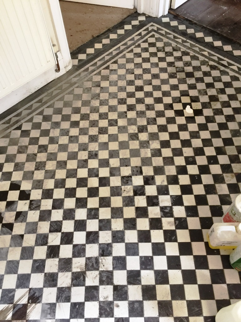 Victorian Hallway Floor West Byfleet Before Acid Wash