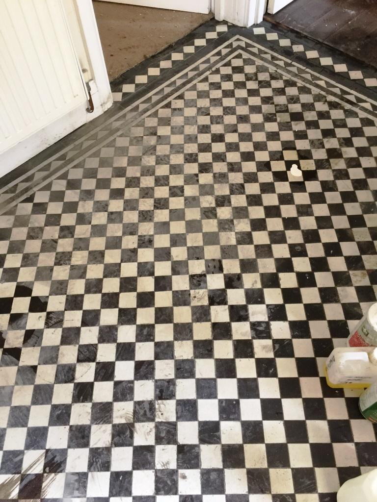 Victorian Hallway Floor West Byfleet Before Acid Wash