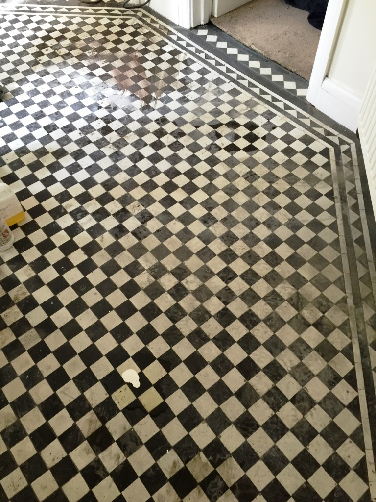 Victorian Hallway Floor West Byfleet Before Cleaning