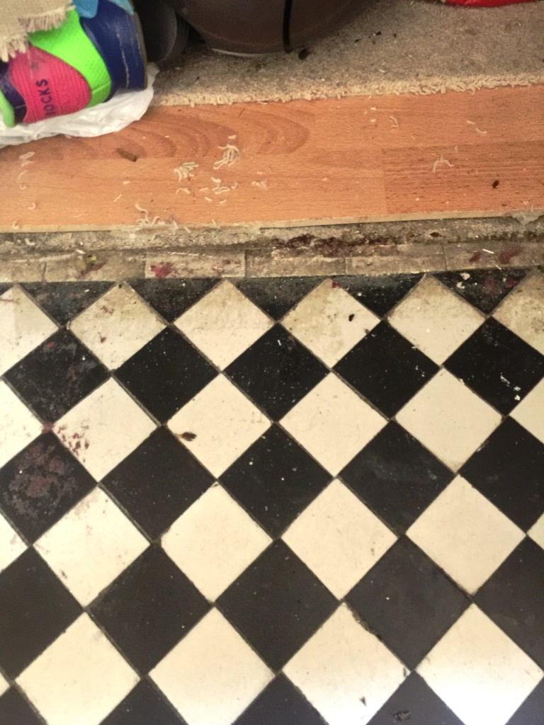 Victorian Hallway Floor West Byfleet Door Threshold Before