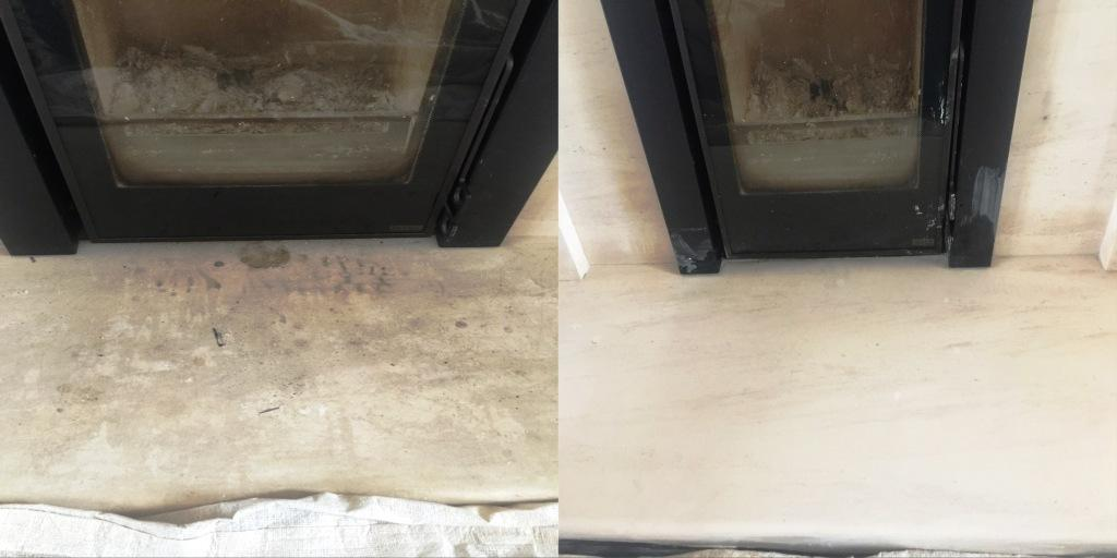 Stone Fireplace Before and After Cleaning East Byfleet