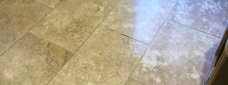 Restoring Travertine Kitchen Tiles in East Byfleet