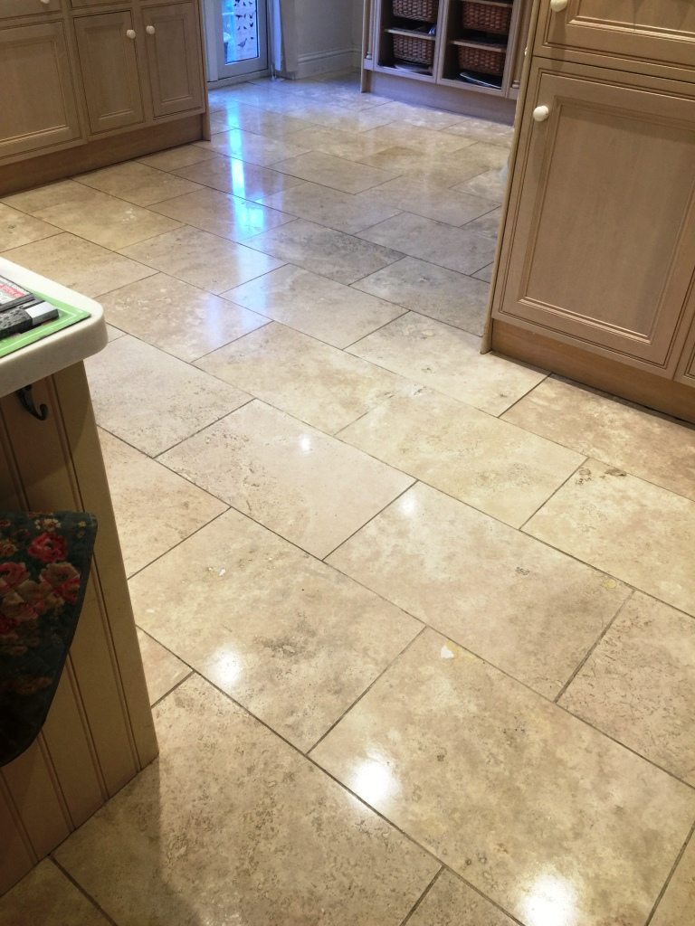 Travertine Kitchen Floor After Sealing East Byfleet