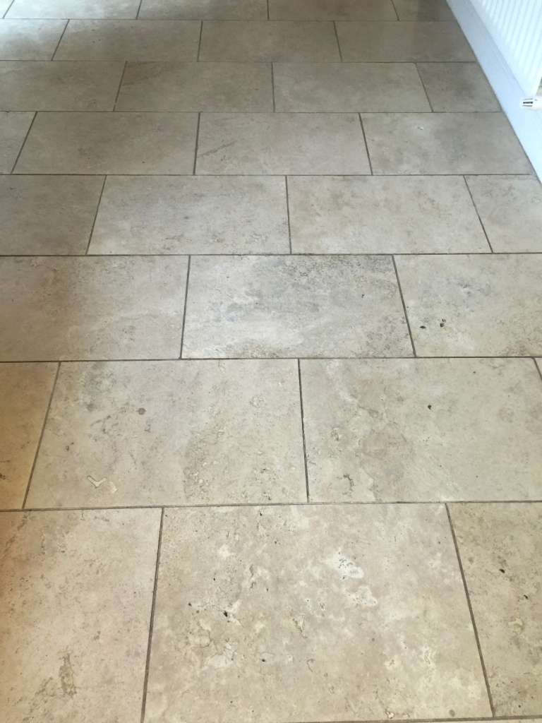 Travertine Kitchen Floor Before Cleaning East Byfleet