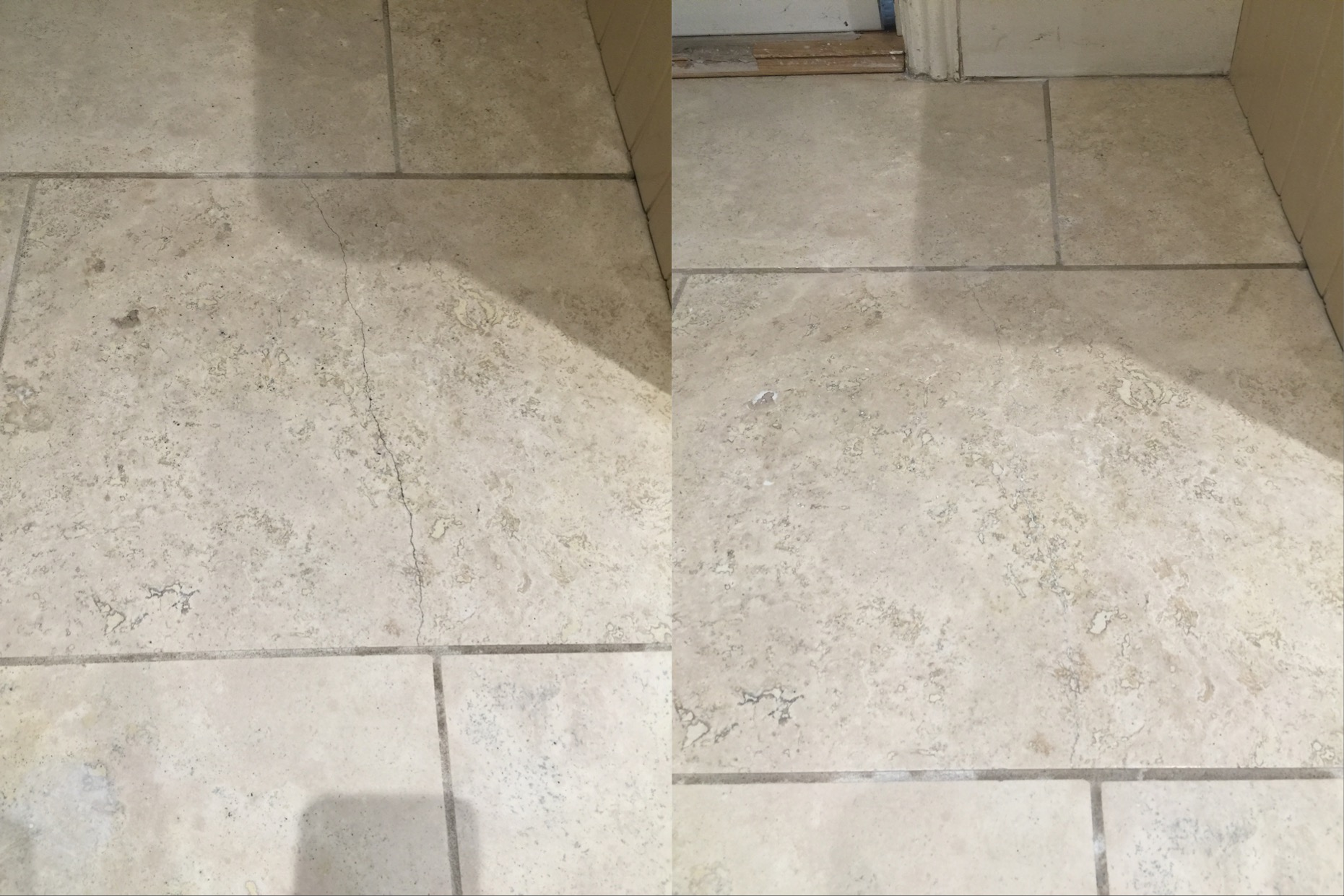 West surrey tile doctor your local tile stone and grout sleaning travertine kitchen floor cracked tile before and after east byfleet dailygadgetfo Gallery