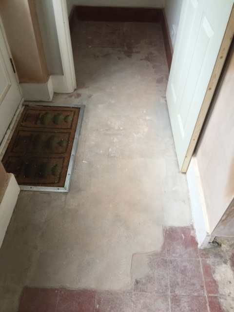 Quarry Tiled Floor Before Restoration Woking