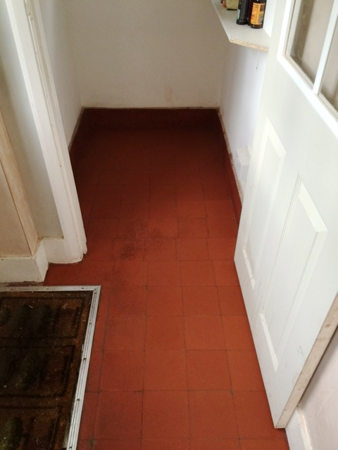 Quarry Tiled Floor Before Cleaning Woking
