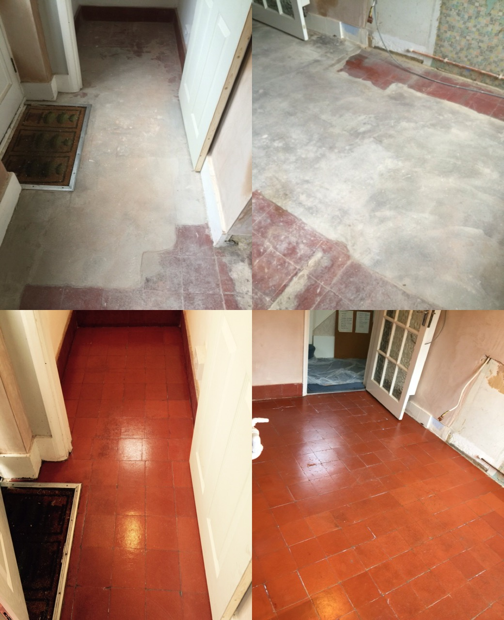 Quarry Tiled Floor Before and After Restoration Woking