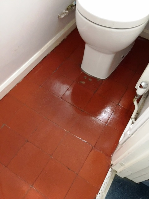Quarry Tiled WC Floor After Restoration Woking
