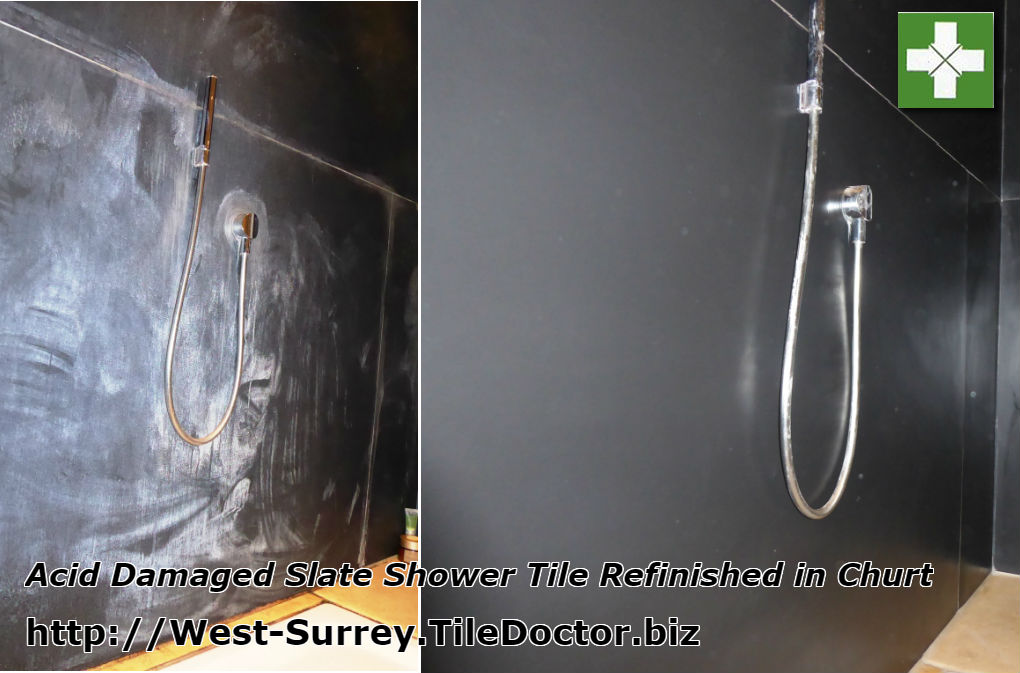 Black slate tiled shower before and after restoration in Churt