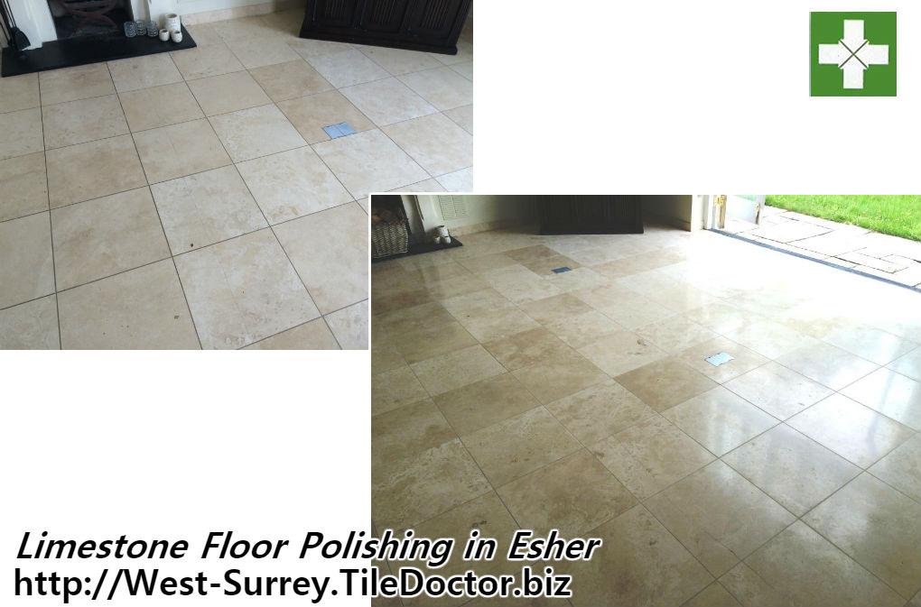Limestone Floor Polished in Esher