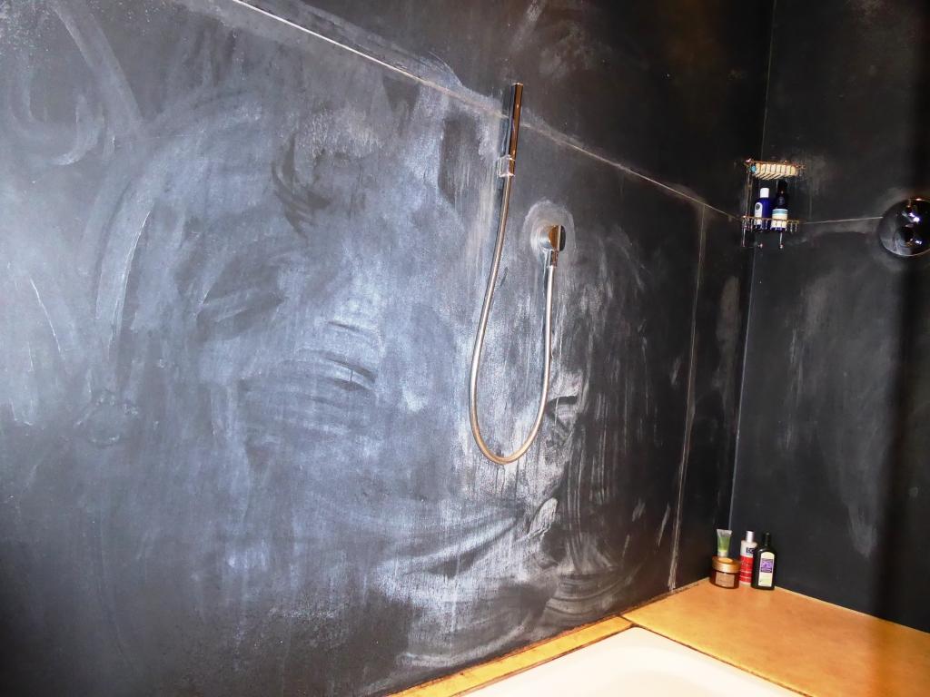 Slate shower before cleaning Churt