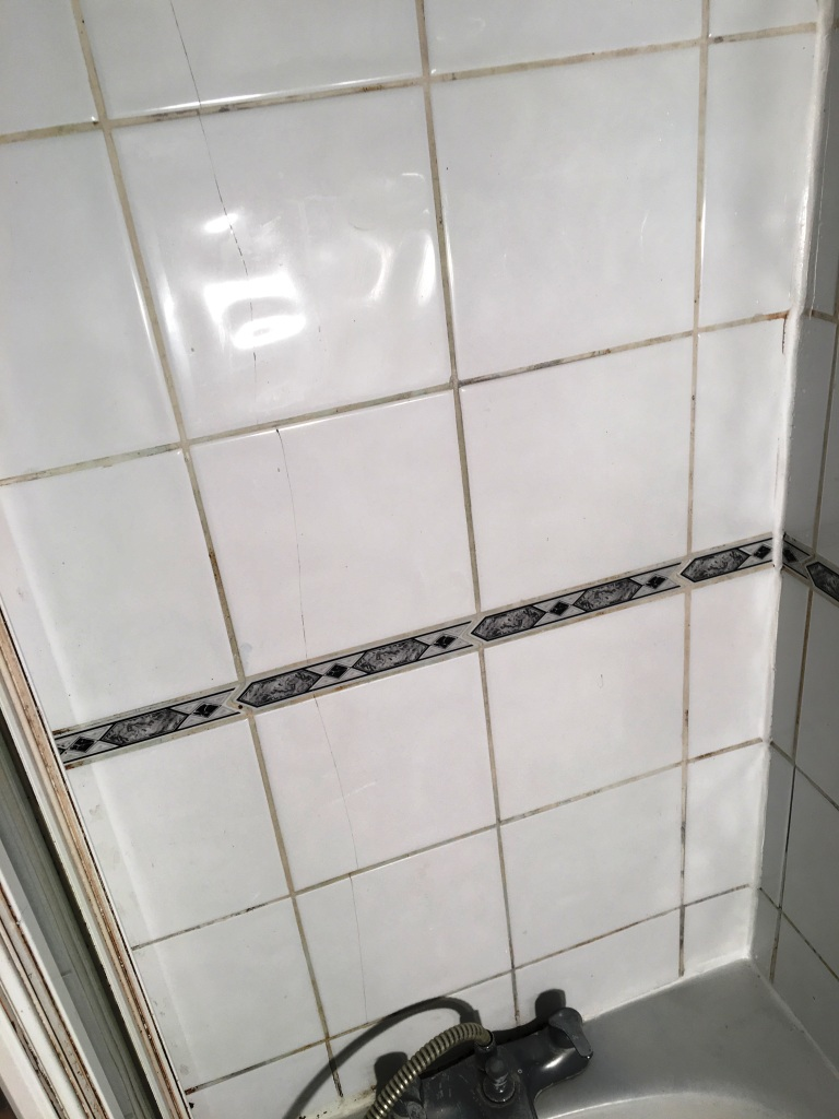 Dirty Ceramic Bath Tiles in Chessington before cleaning