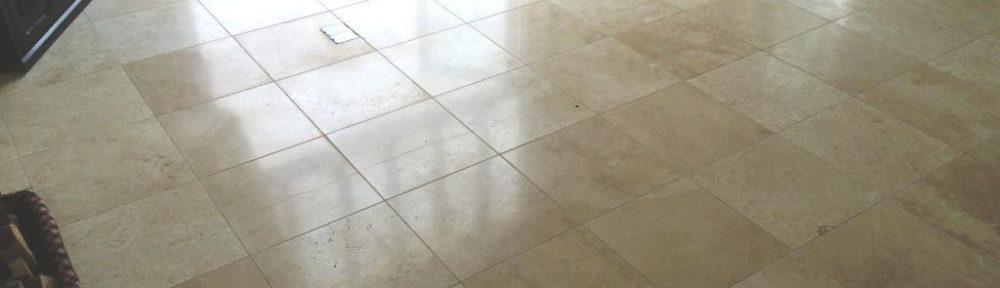 Large Area of Limestone Tiled Flooring Burnished in Esher