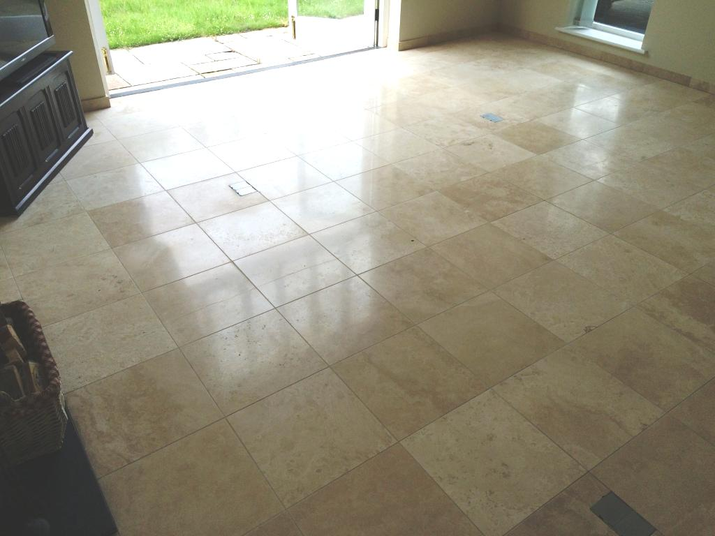 Limestone Tiled Floor After Cleaning and Polishing in Esher