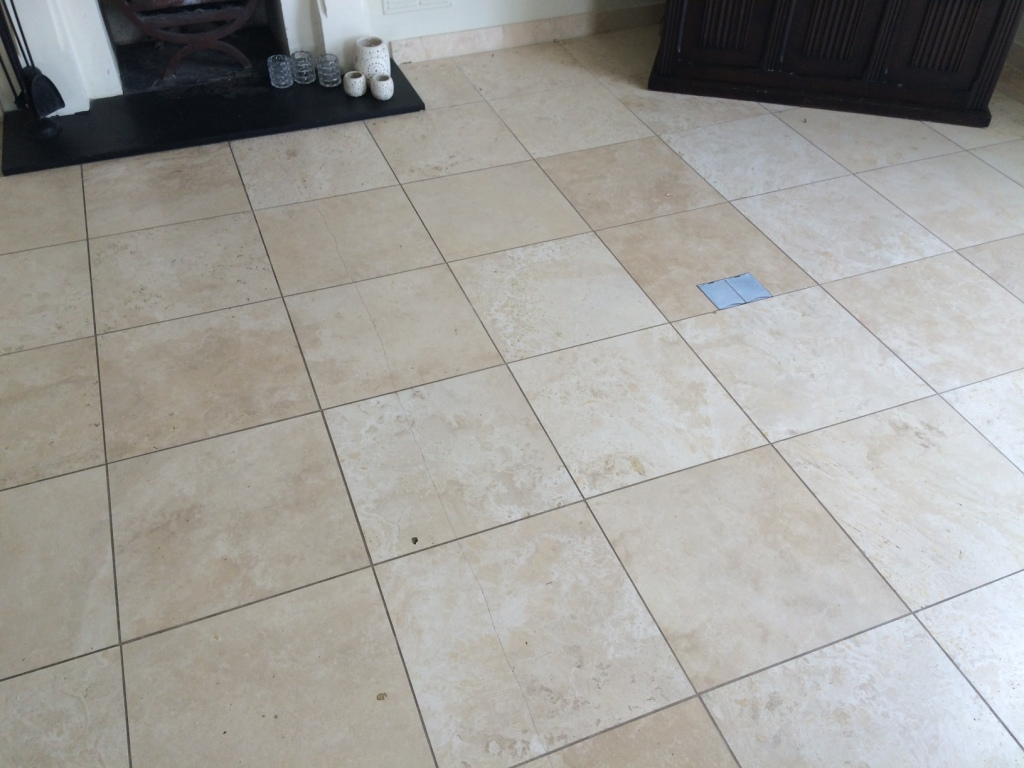 Limestone Tiled Floor Before Cleaning and Polishing in Esher
