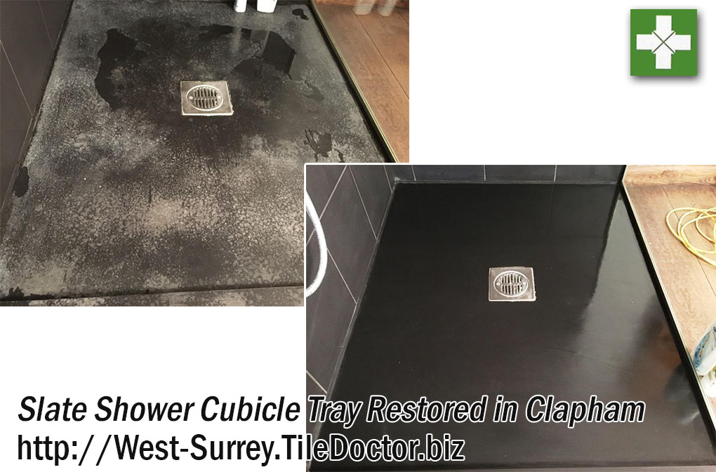 Badly Marked Slate Shower Tray in Clapham Before and After Restoration