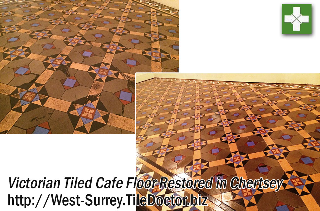 Victorian Tiled Cafe Floor Restored in Chertsey