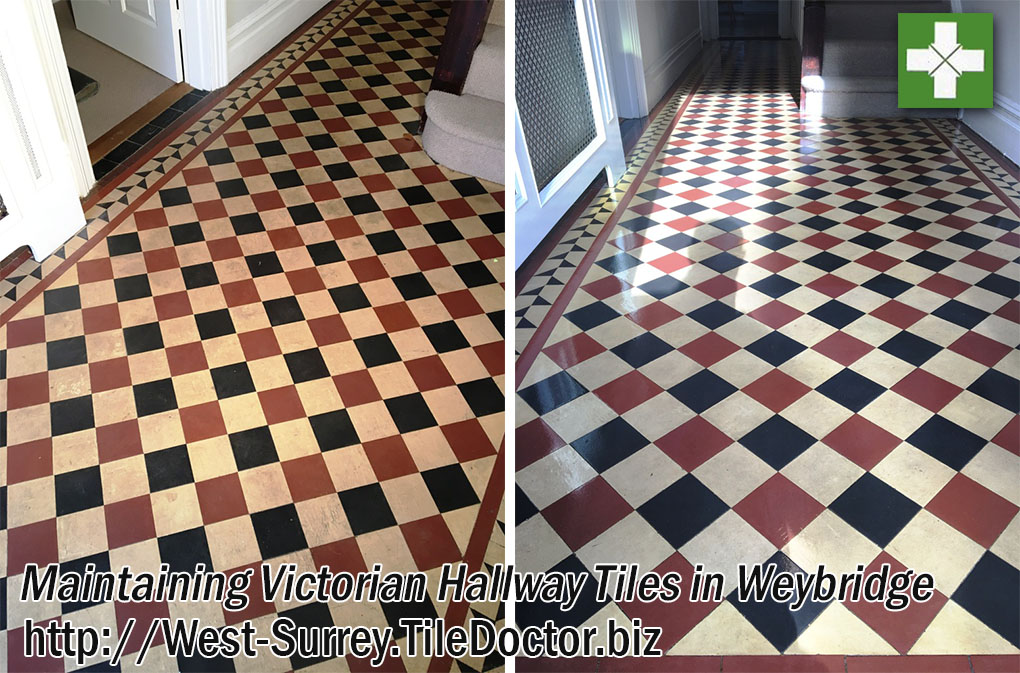 Victorian Tiled Hallway Before and After Cleaning and Sealing Weybridge
