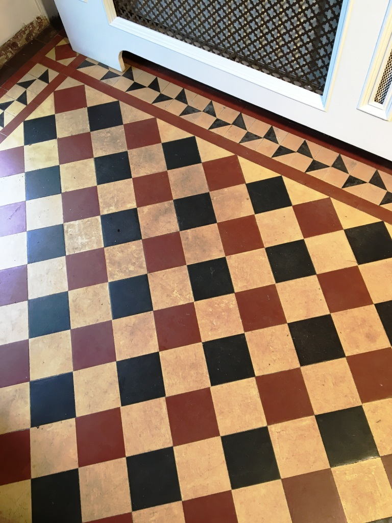 Victorian Tiled Hallway Floor Before Cleaning Weybridge