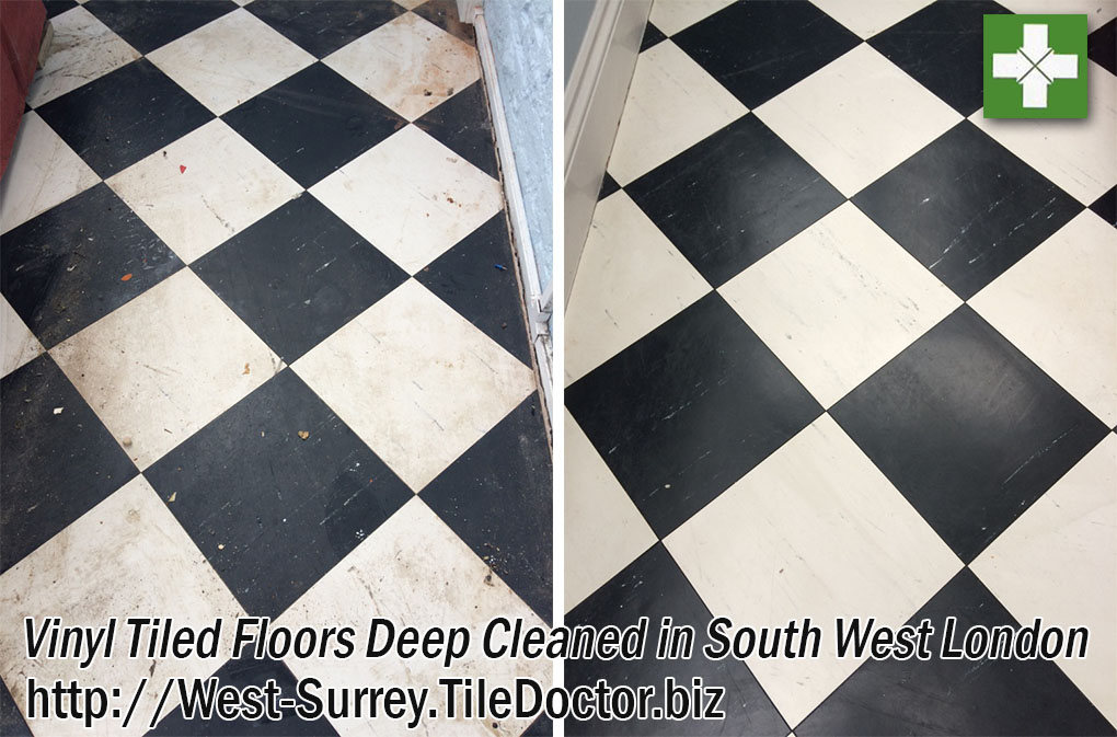 Vinyl Kitchen and Bathroom Floor Before and After Deep Cleaning Worcester Park