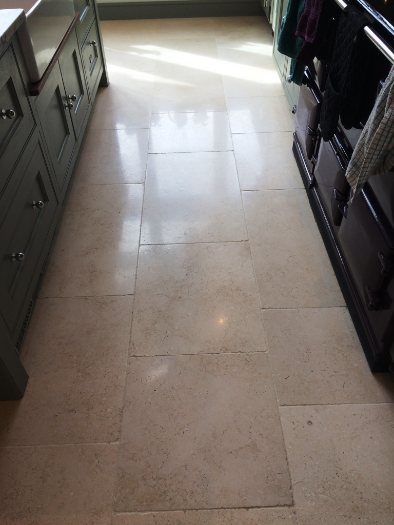 Limestone Floor Tiles Cobham After Cleaning