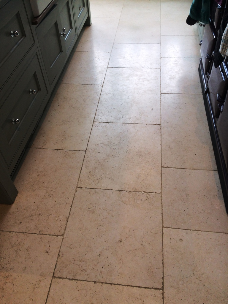 Limestone Floor Tiles Cobham Before Cleaning