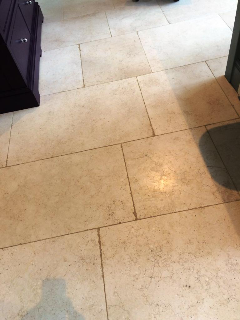 Limestone Floor Tiles Cobham Before Cleaning