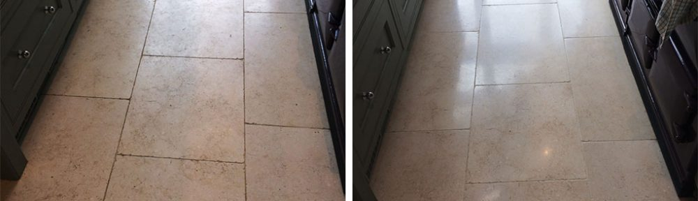 Polishing and Sealing a Dirty Limestone Kitchen Floor in Cobham