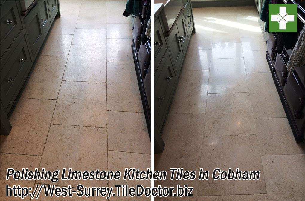 Limestone Tiled Kitchen Floor Before and After Polishing in Cobham