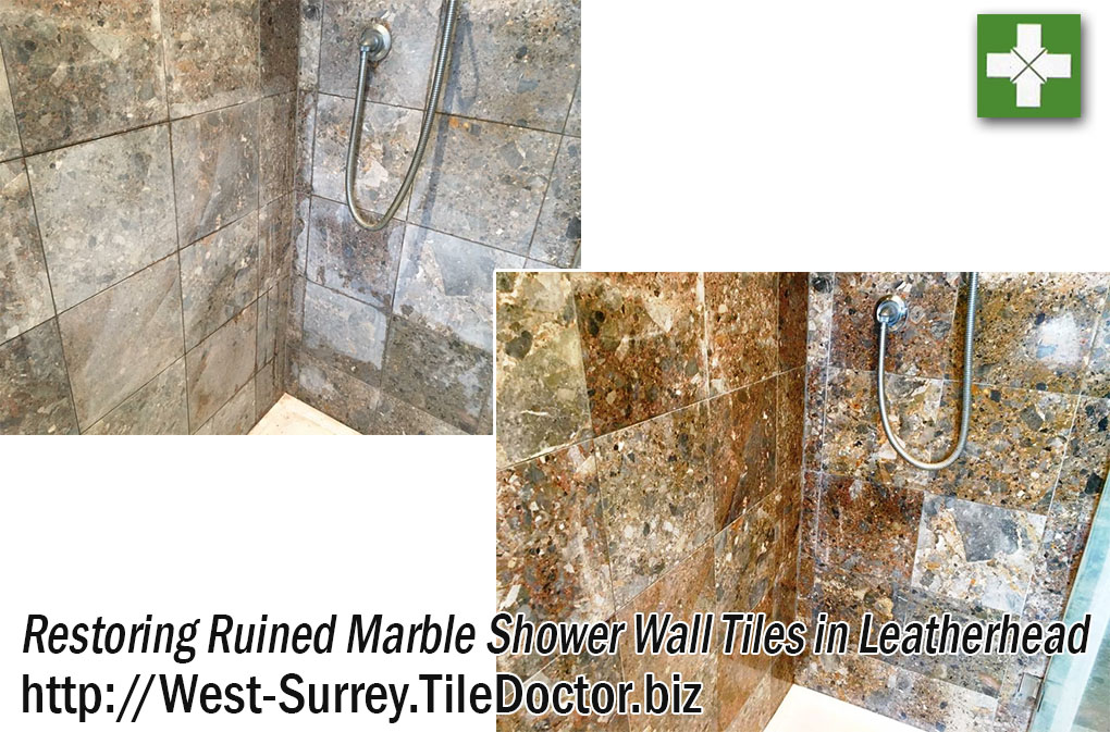 Marble Tiled Shower Before and After Restoration in Leatherhead