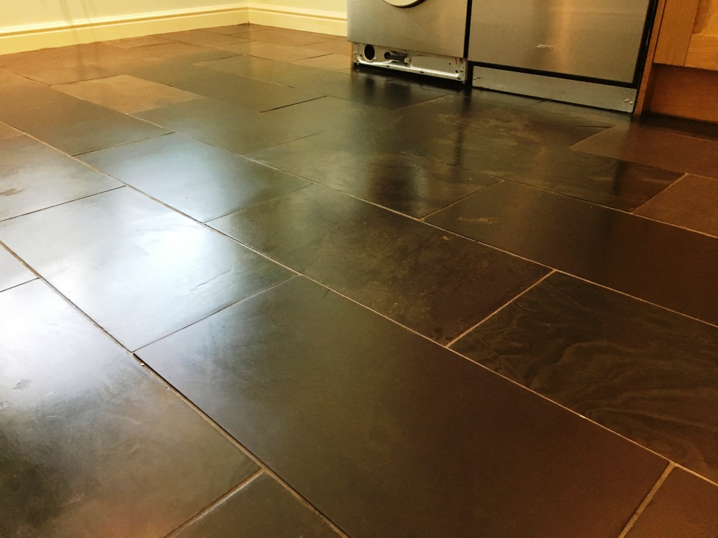 Scratched Slate Floor Tiles After Cleaning Weybridge