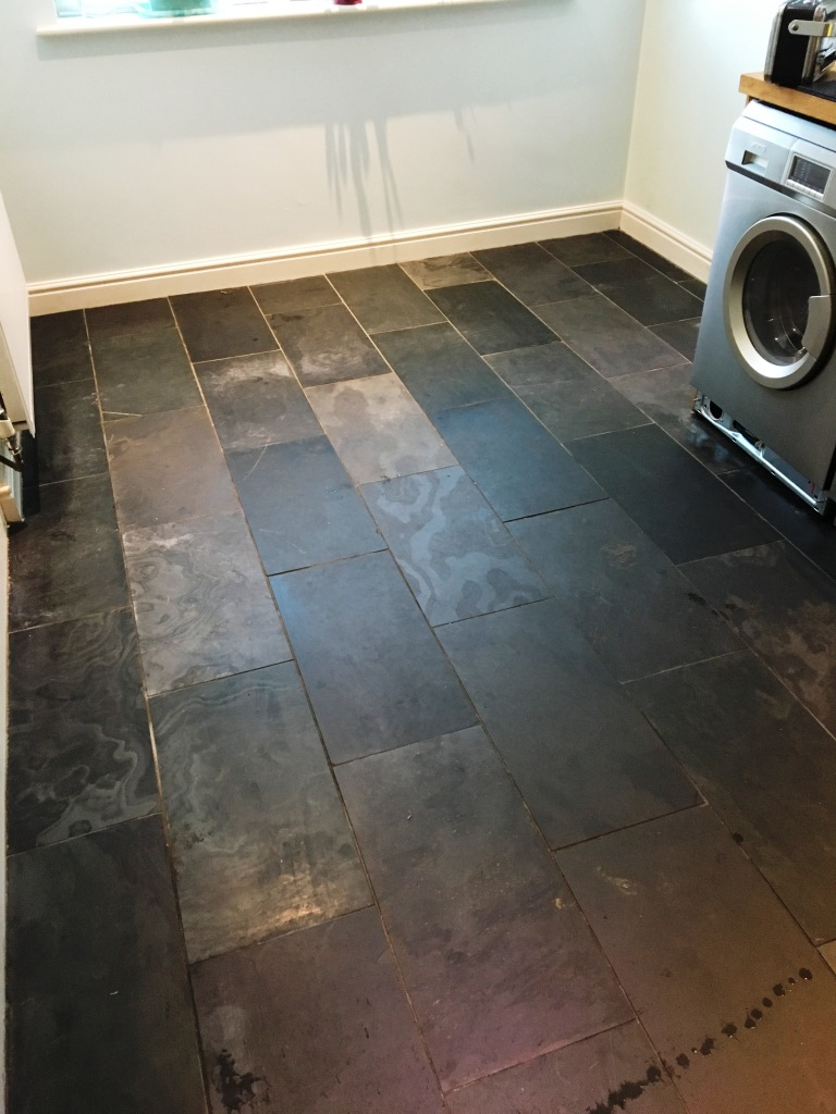 Scratched Slate Floor Tiles Before Cleaning Weybridge