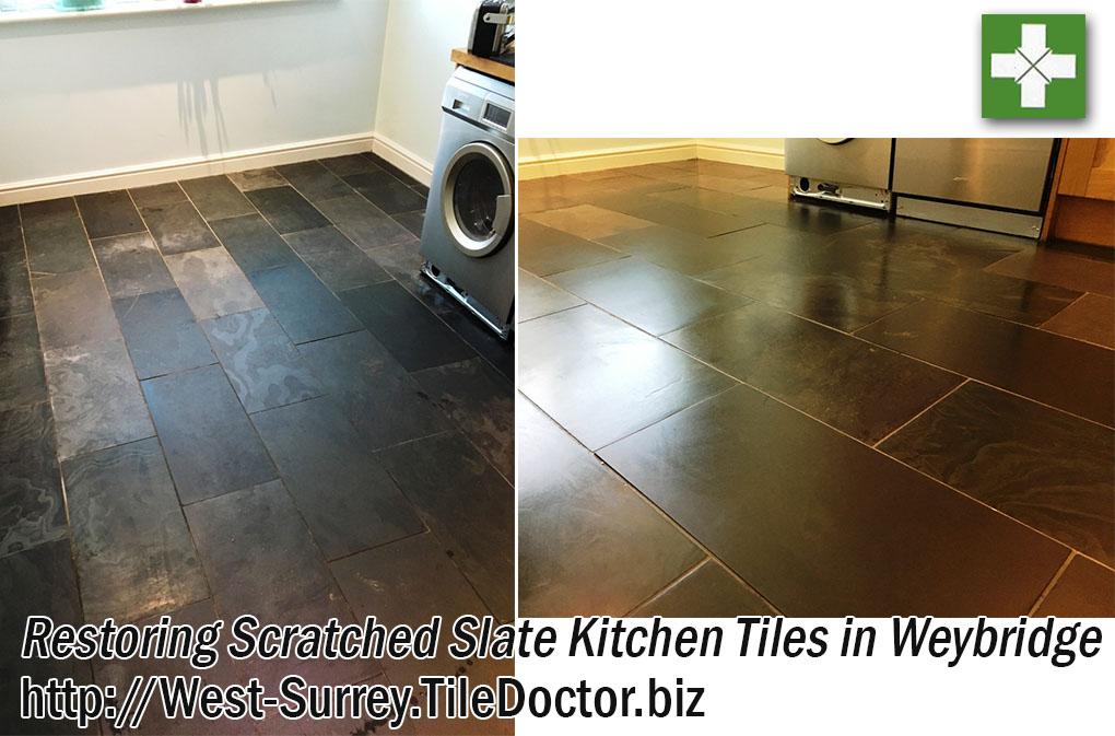 Slate Tiled Kitchen Floor Before and After Restoration in Weybridge
