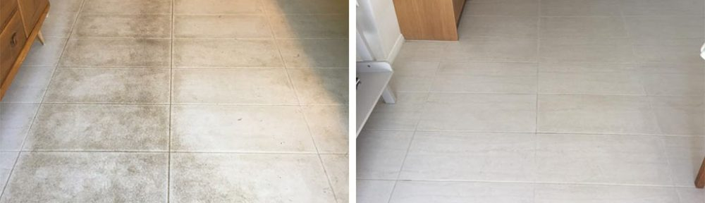White Porcelain Tiled Floor Before and After Cleaning in Windlesham
