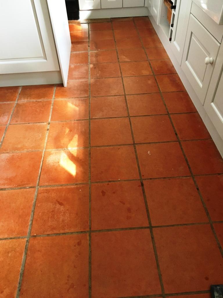 Terracotta Floor Tiles Before Cleaning Kingston on Thames