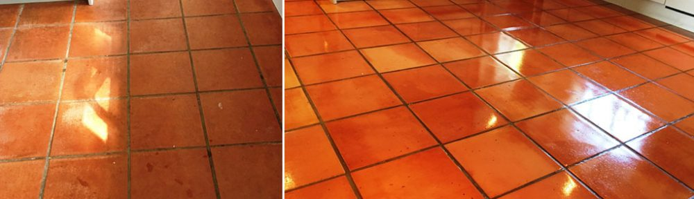 Terracotta Tiled Kitchen Before and After Cleaning in Kingston Upon Thames