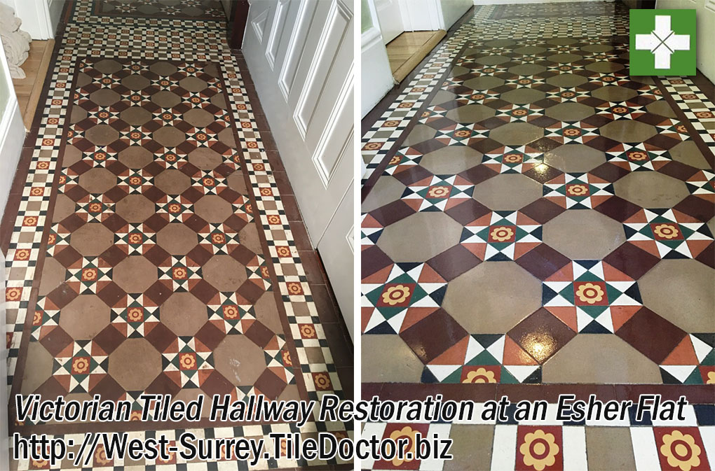 Victorian Tiled Hallway Before and After Restoration in Esher