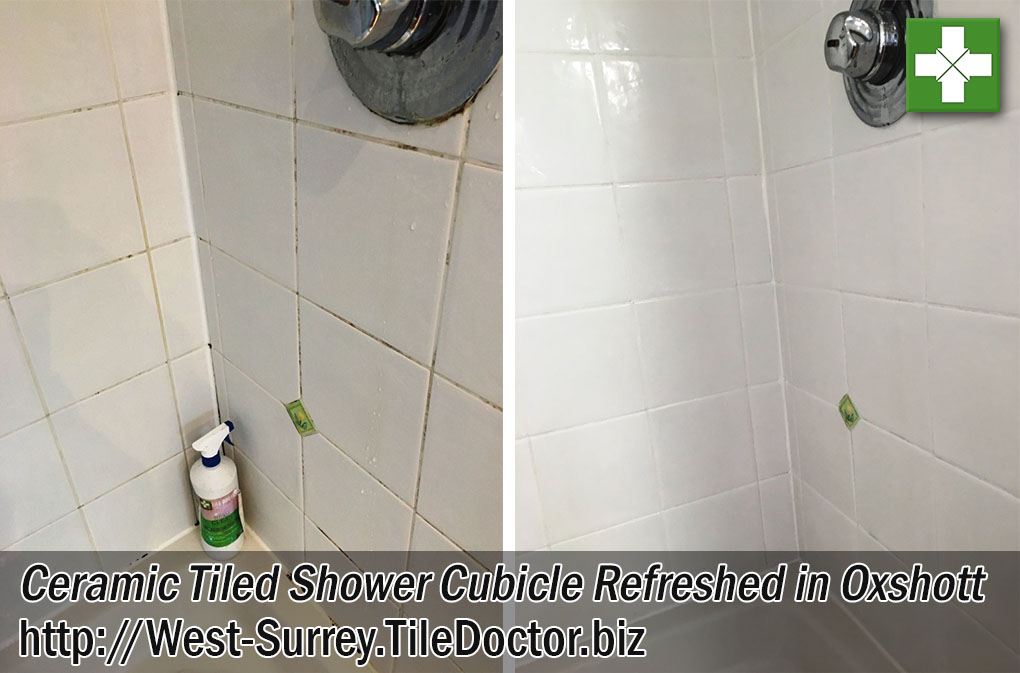 Ceramic Tiled Shower Cubicle Before and After Refresh in Oxshott