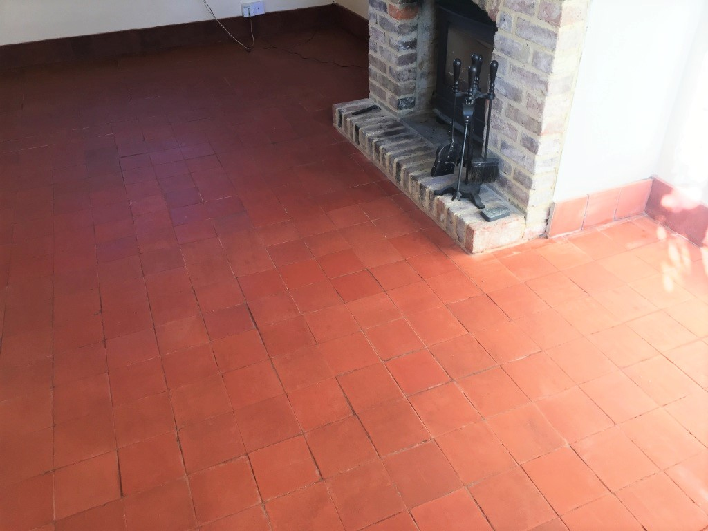 Quarry Tiled Floor After Renovation at Dunsfold Cottage