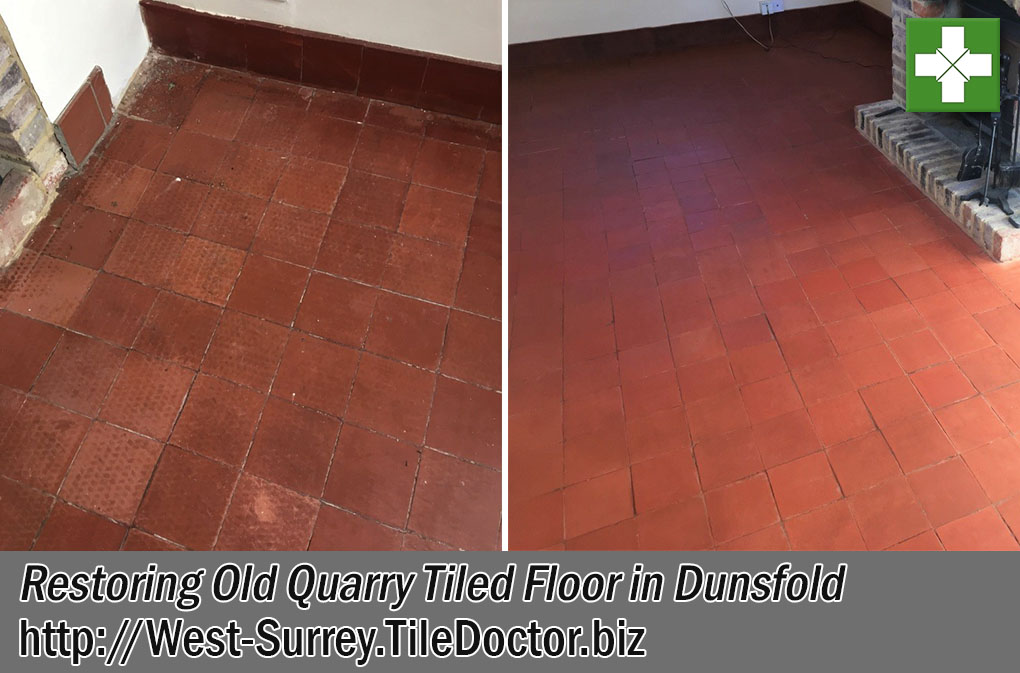 Quarry Tiled Floor Before and After Restoration in Dunsfold
