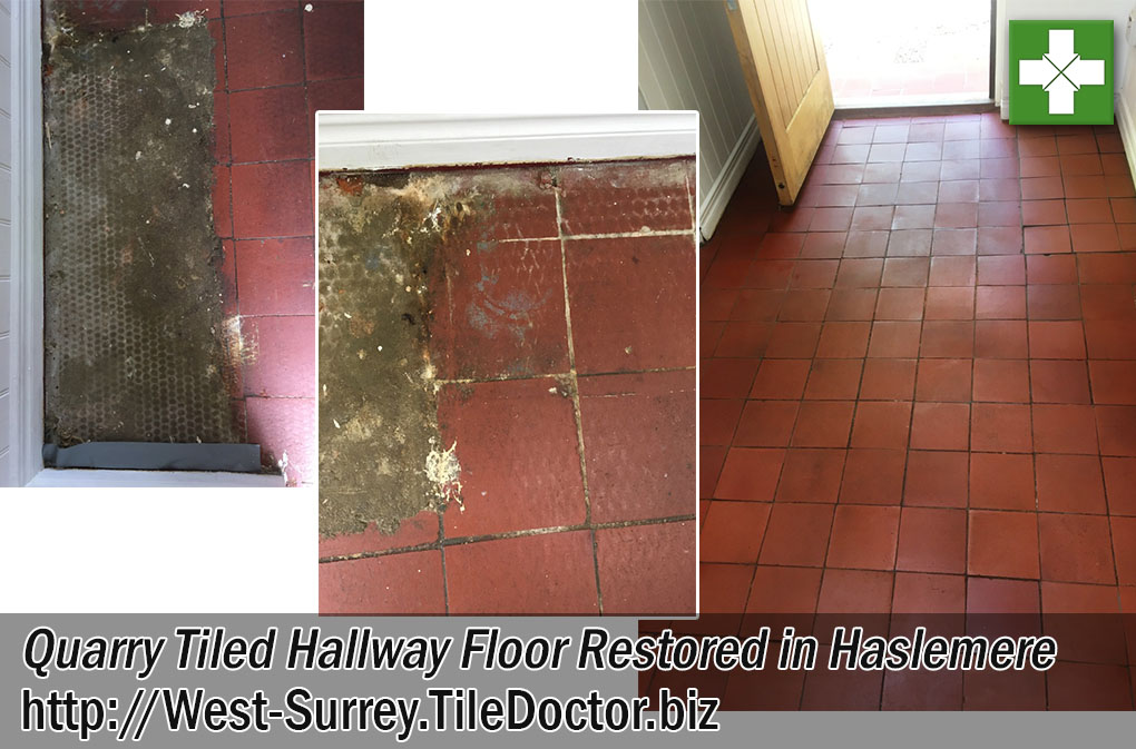 Quarry Tiled Hallway Floor Before and After Restoration in Haslemere
