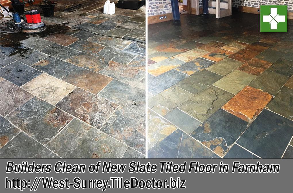 Builders Clean Large Slate Floor Before and After Restoration in Farnham